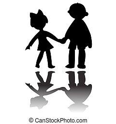 jongen en meisje, silhouettes