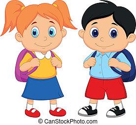 jongen en meisje, spotprent, met, rugzakken