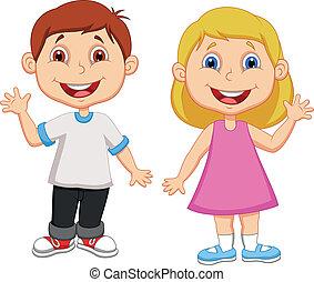 jongen en meisje, spotprent, zwaaiende , hand