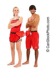 jongen en meisje, tiener, lifeguards, in, uniform, met,...