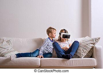 jongen en meisje, vervelend, feitelijke realiteit, goggles.,...