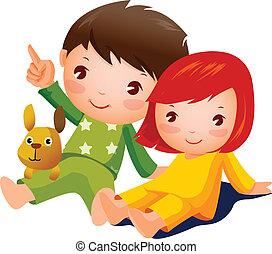jongen en meisje, zittende