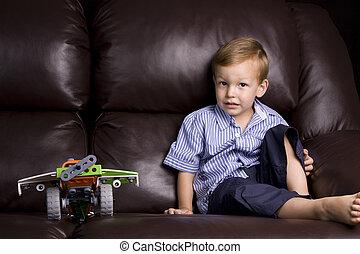 jongen, en, zijn, speelbal