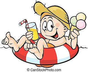 jongen, eten, ijs, sap, lifebuoy, drinkt, zit, room