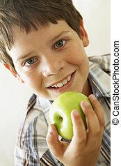 jongen, eten, jonge, appel
