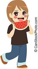 jongen, etend watermelon