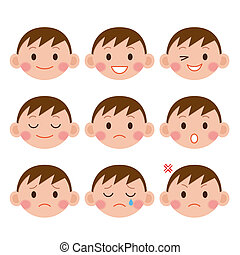 jongen, expressions., gekke , spotprent