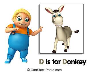 jongen, ezel, wijzende, geitje