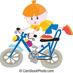 jongen, fiets