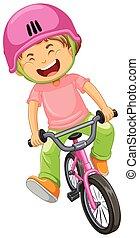 jongen, fiets helpend