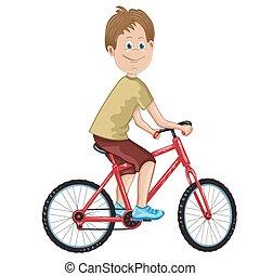jongen, fiets, illustratie, paardrijden