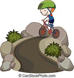 jongen, fiets, jonge, paardrijden, berg