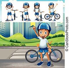 jongen, fiets, park, paardrijden