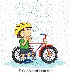 jongen, fiets, regen, paardrijden