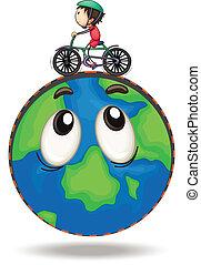 jongen, fiets, spelend