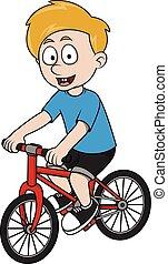 jongen, fiets, spotprent, illustratie