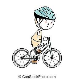 jongen, fiets, spotprent, vrijstaand