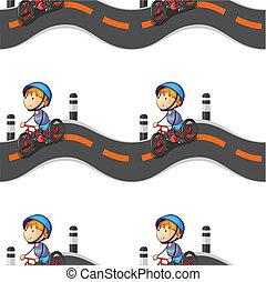 jongen, fiets te rijden