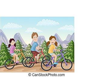 jongen, fietsen, meiden, vrolijke , paardrijden