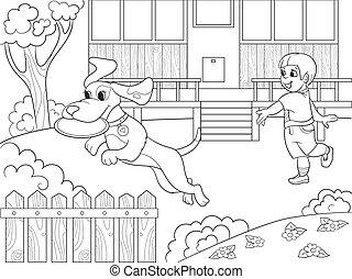 jongen, frisbee, natuur, dog, illustratie, kleurend boek, vector, spotprent, spelende kinderen