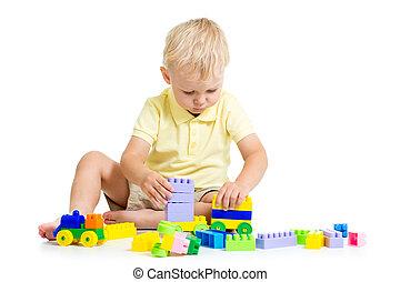 jongen, gebouw stel, spelend, kind