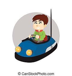 jongen, gebruik, auto bumper