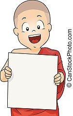 jongen, geitje, plank, illustratie, monnik