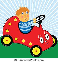 jongen, geleider, auto