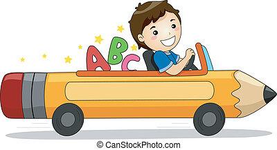 jongen, geleider, een, potlood, auto, met, alfabet