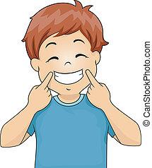 jongen, gesturing, glimlachen