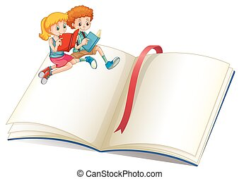 jongen, girl lezen, boek