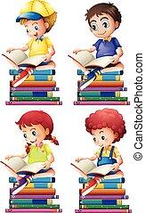 jongen, girl lezen, boekjes