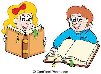 jongen, girl lezen