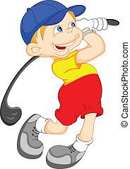 jongen, golf, spotprent, speler