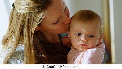 jongen, haar, 4k, moeder, baby, spelend