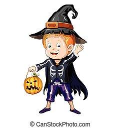 jongen, halloween kostuum