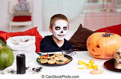 jongen, halloween