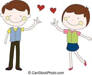 jongen, hart, hand, rood, meisje, dr., sent