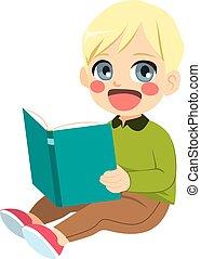 jongen, het genieten van, lezende