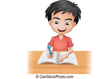 jongen, het glimlachen, schrijvende