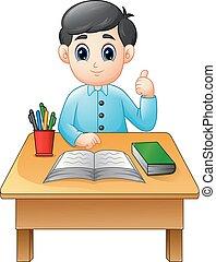 jongen, het opgeven, duimen, leren, tafel, spotprent