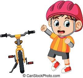 jongen, het poseren, fiets