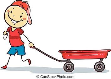 jongen, het trekken, stickman, rode wagen