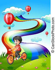 jongen, heuveltop, biking, regenboog