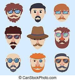 jongen, hipster, gezichten
