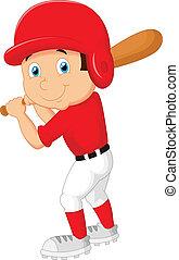 jongen, honkbal, spotprent, spelend