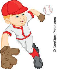 jongen, honkbal, spotprent, speler