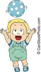 jongen, hoofd, op, illustratie, bergpas, toddler