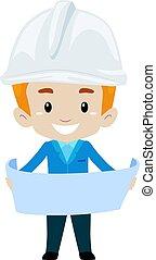 jongen, hoofd, papier, vasthouden, open, ingenieur