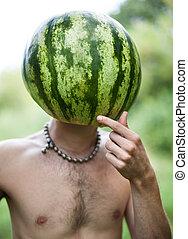 jongen, hoofd, watermeloen, instead
